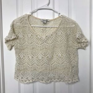 Forever 21 White Lace Crochet Crop Top Shirt